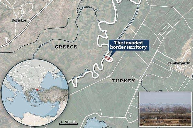خريطة تظهر قطعة الأرض، نقلاً عن وسائل إعلام يونانية