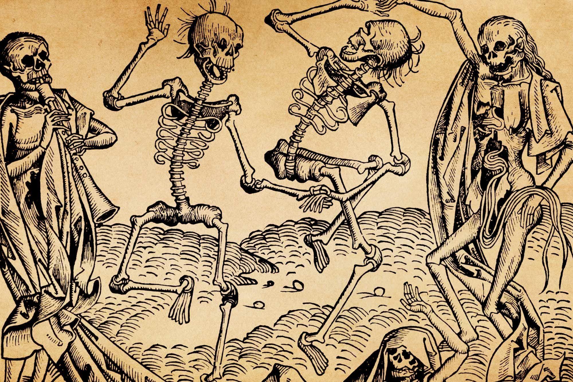 لوحة بعنوان رقصة الموت اقتبست من انتشار الطاعون الأسود بالقرن الرابع عشر