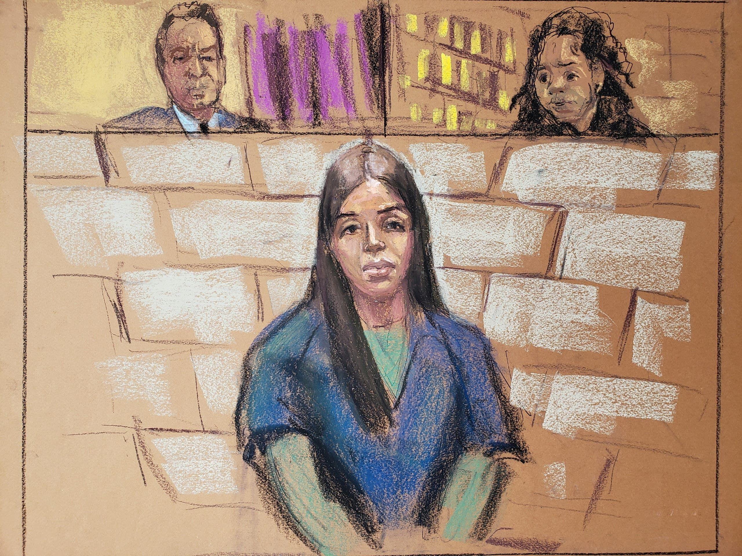 رسم لإيما كورونيل خلال إحدى جلسات المحاكمة