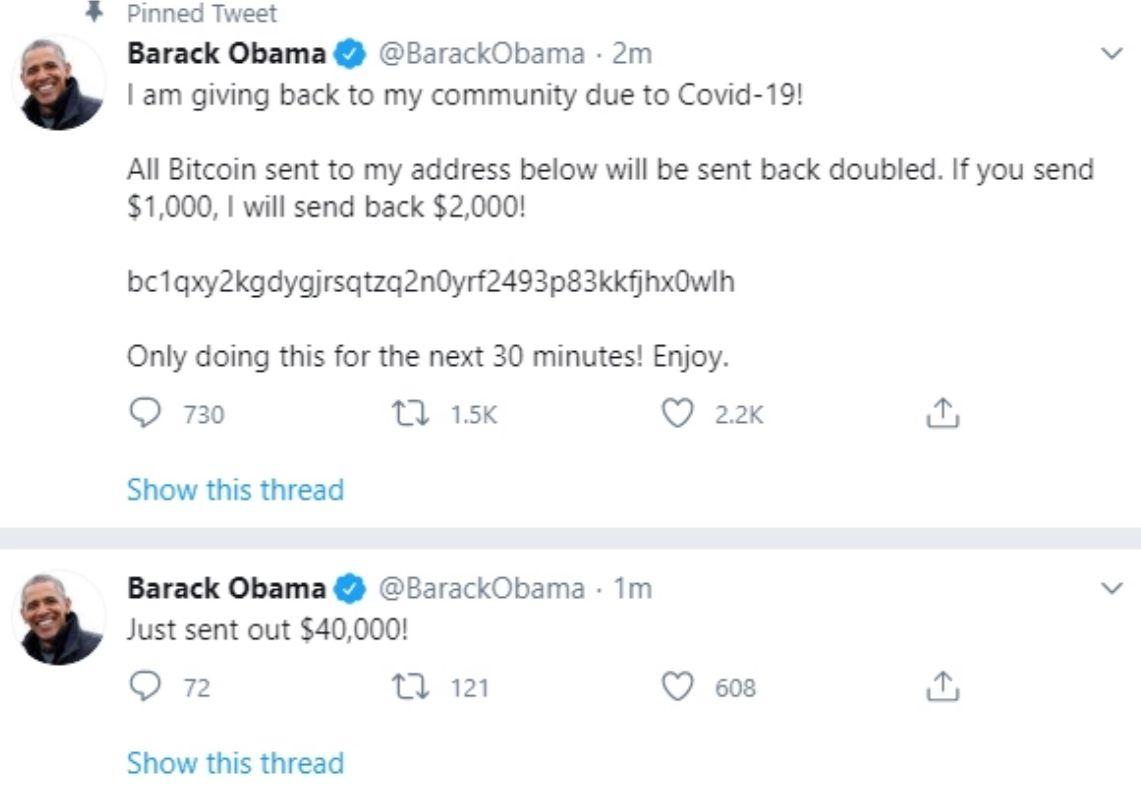 رسالة تم نشرها على حساب أوباما بعد اختراقه
