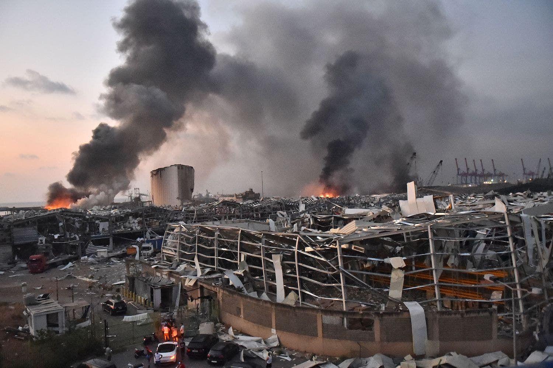 مرفأ بيروت المدمر إثر الانفجار
