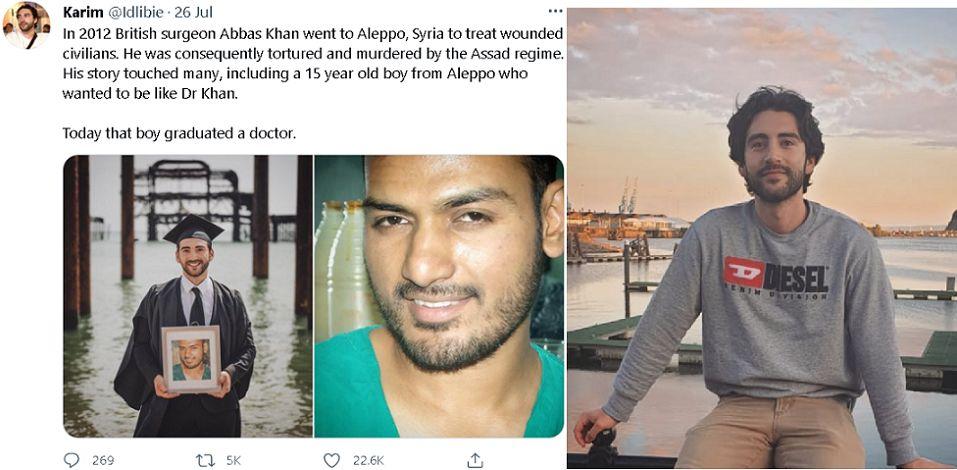 الصورة إلى اليمين من إنستغرام، وإلى اليسار ما نشره في تويتر