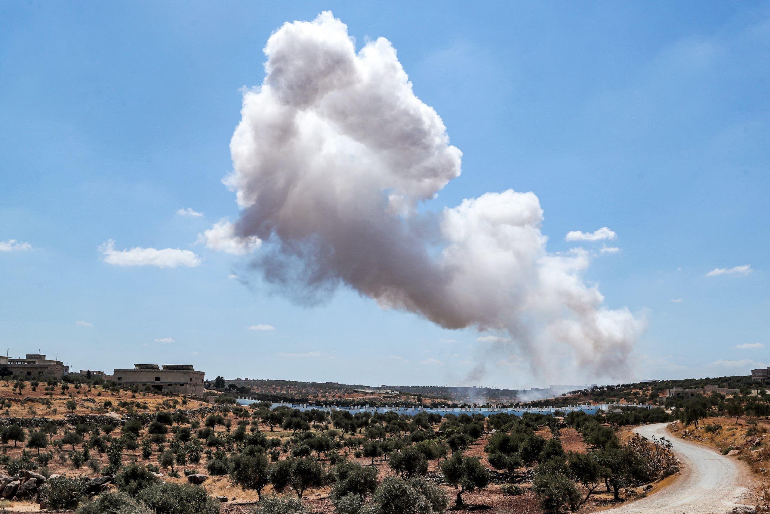 دخان المعارك في إدلب في سبتمبر الحالي