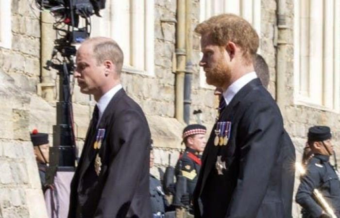 شاهد..الأميران ويليام وهاري يتحدثان سويا في جنازة جدهما